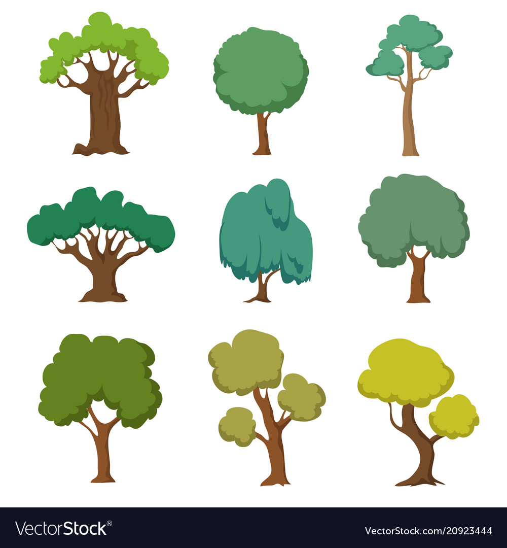 Cartoon green trees cute nature forest plant and