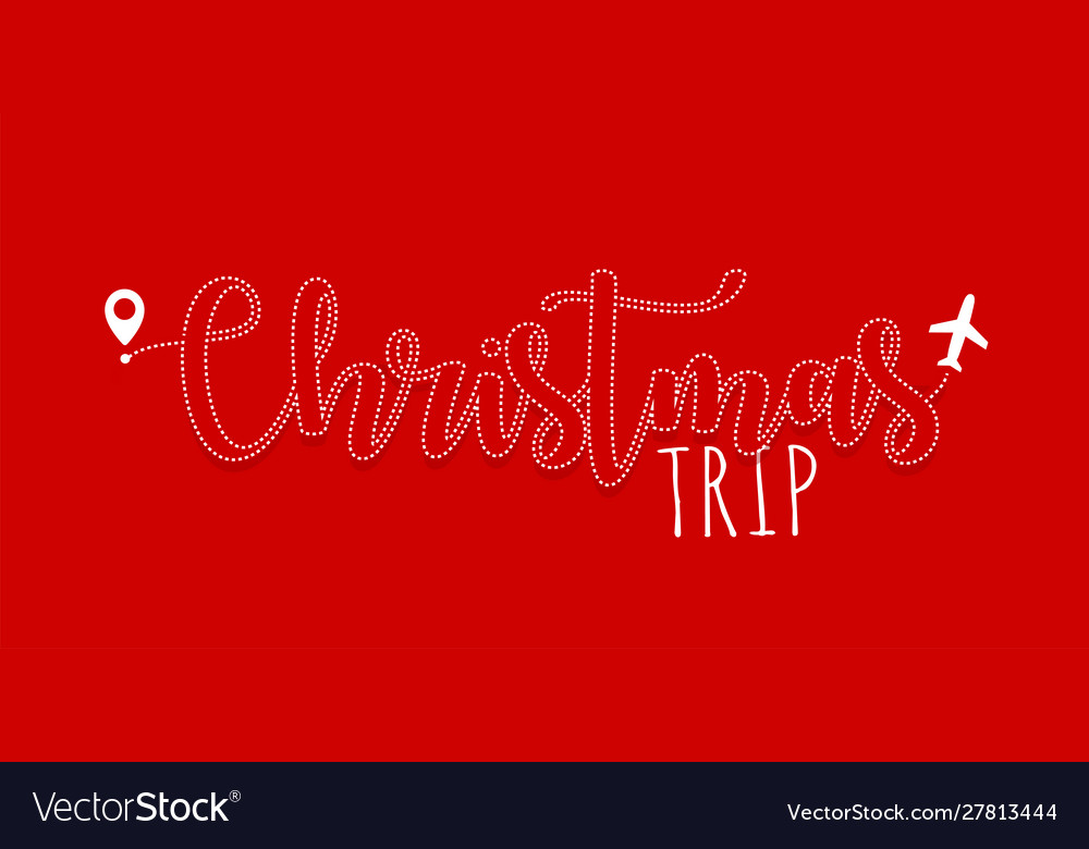 Christmas holiday flight lettering plane ticket