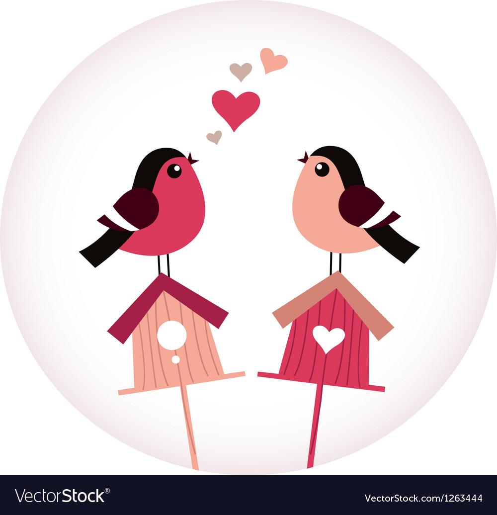 Cute Birds in love sitting on Birdhouses - retro