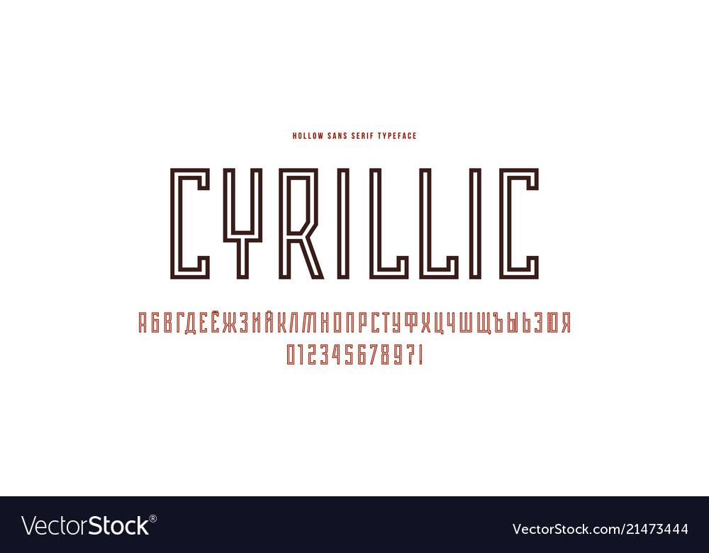 Cyrillic narrow sans serif font in the sport style