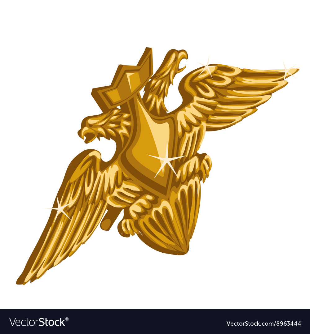 Golden emblem with sword and double-headed eagle