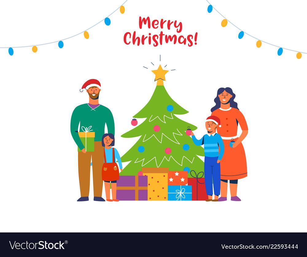 Happy family decorating christmas tree holidays