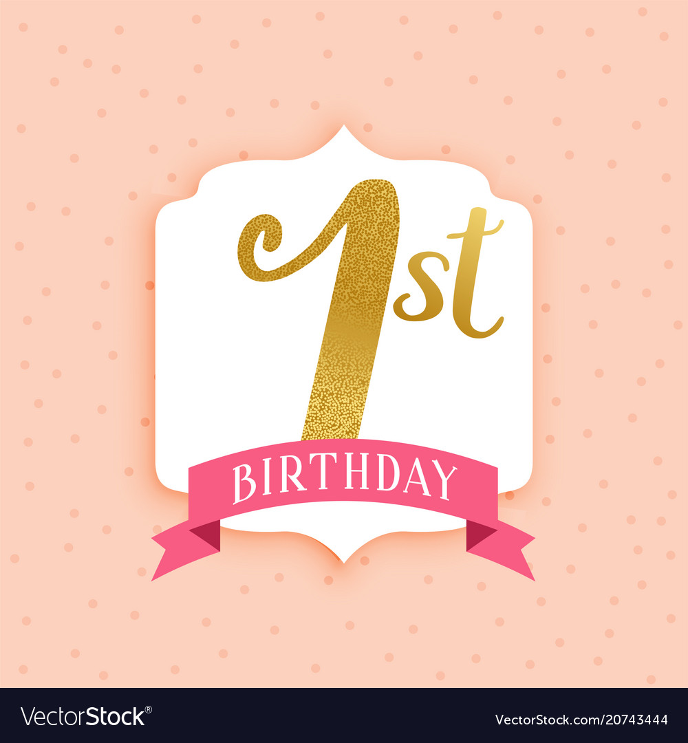 Modern First Birthday Beautiful Background Vector Image