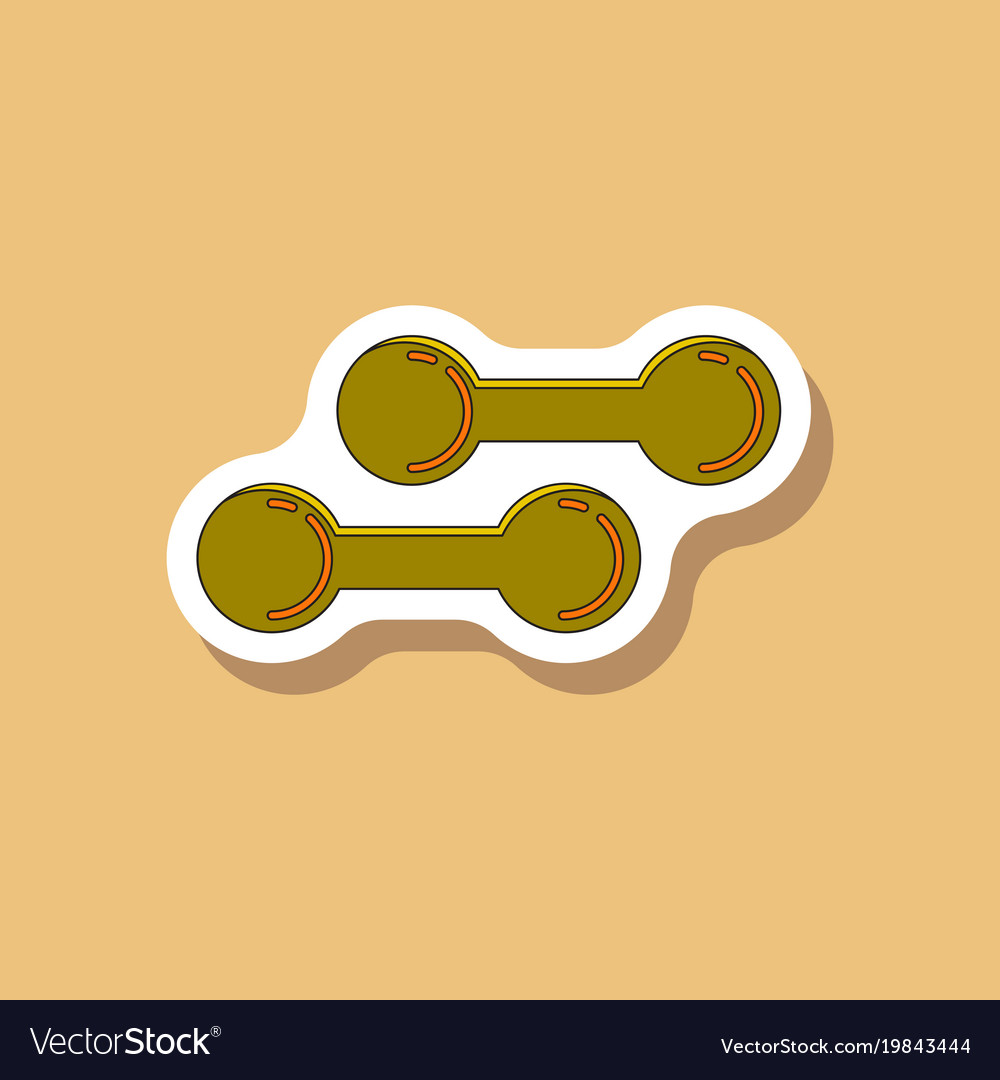 Paper sticker on stylish background dumbbells vector image