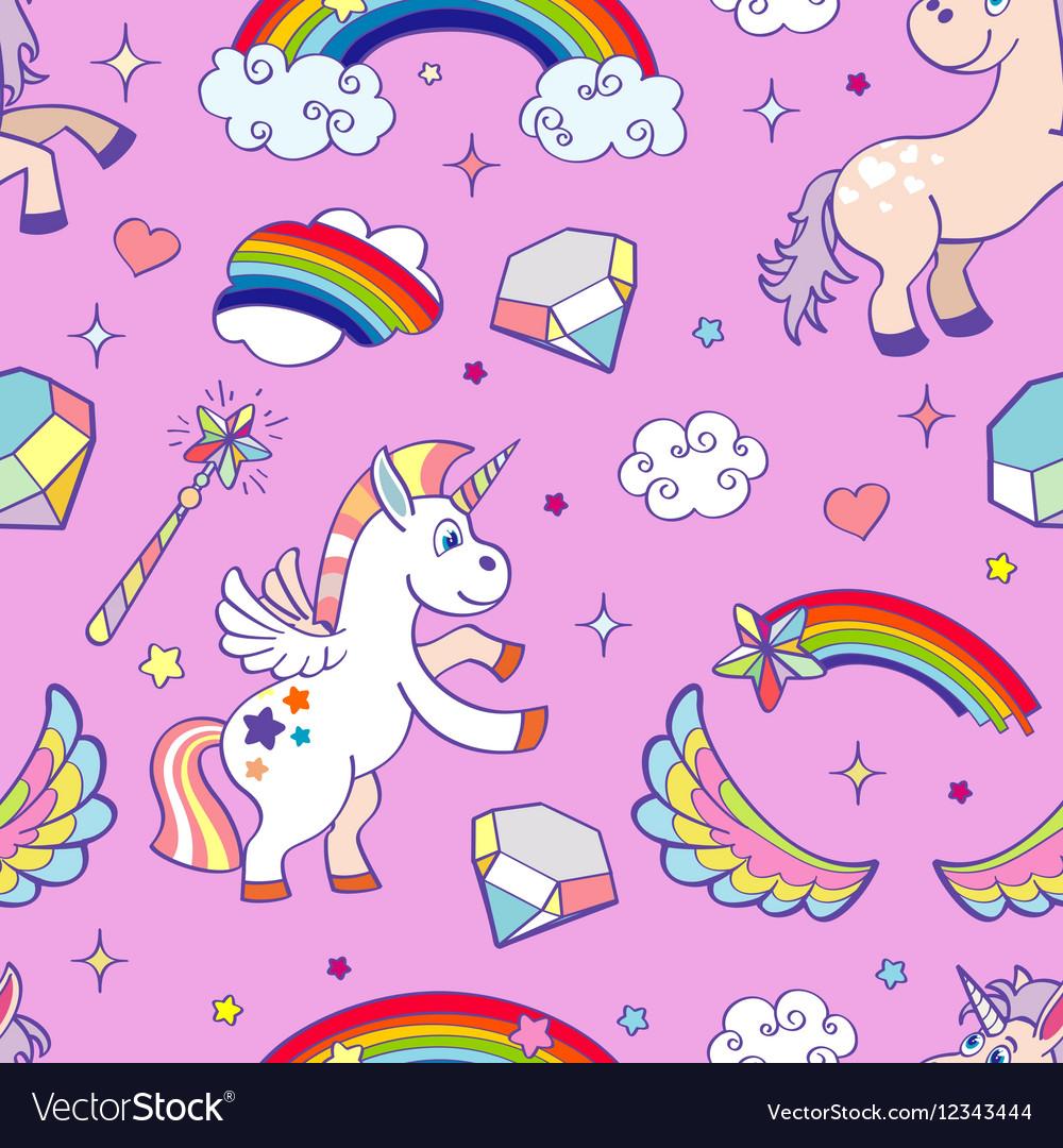 Pink hand drawn unicorns seamless pattern