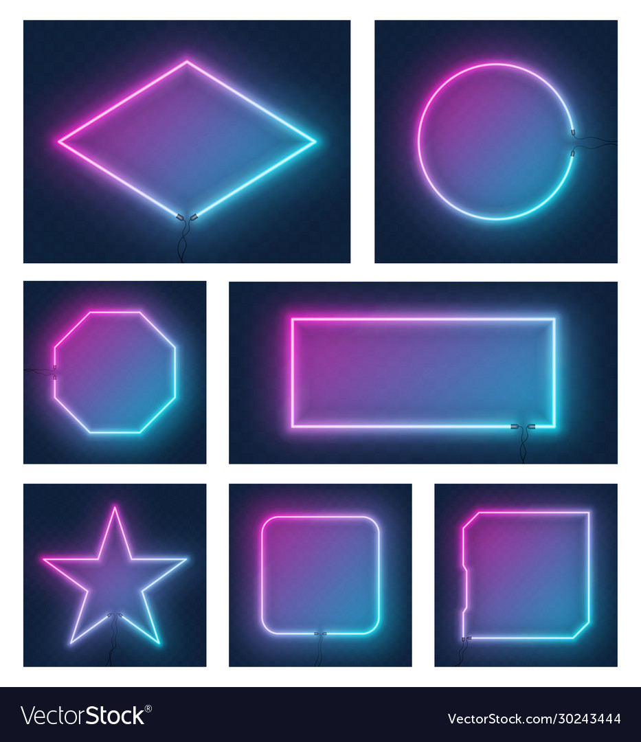 Set realistic glowing different shapes neon