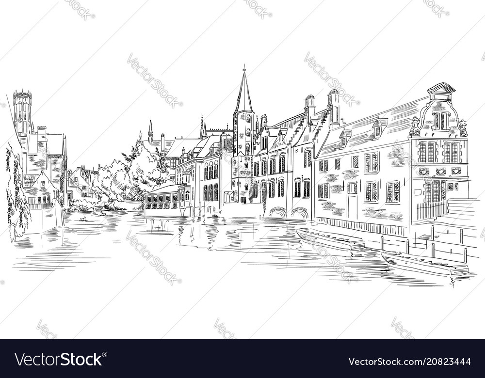 View on rozenhoedkaai water canal in bruges
