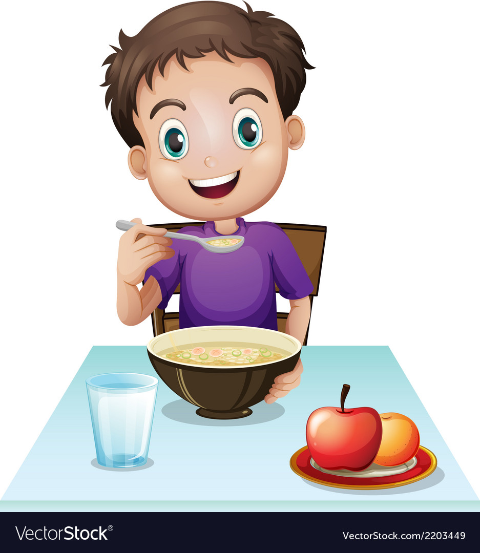 A boy eating his breakfast at the table Royalty Free Vector