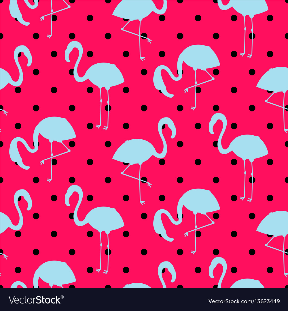 Blue and pink flamingo silhouette dotted pattern