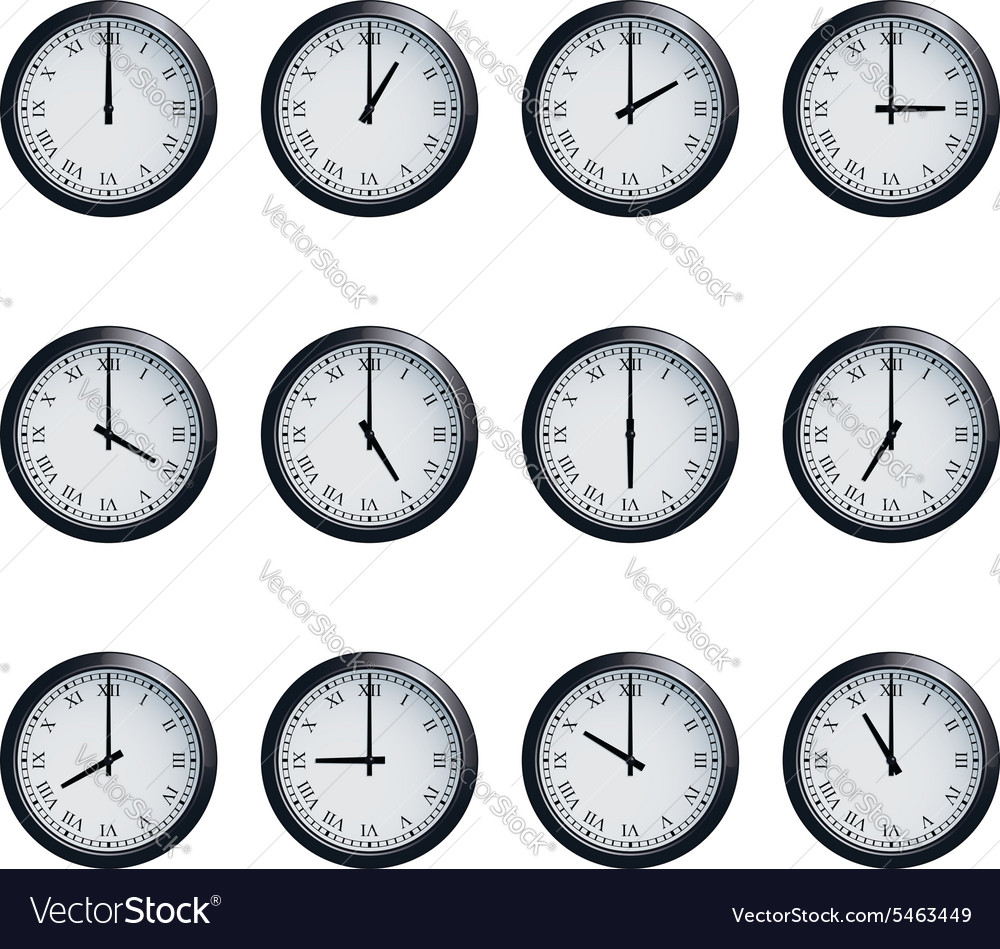 Clock set with Roman numerals timed at each hour