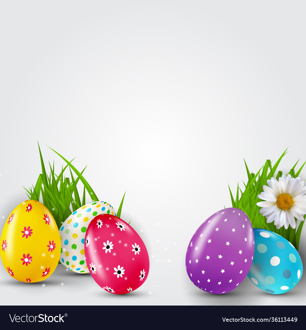 Easter poster template with 3d realistic easter