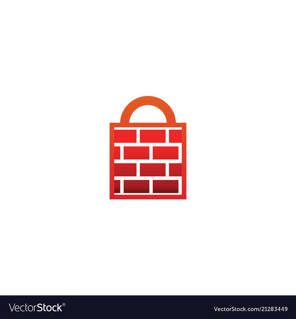 Firewall padlock logo design template