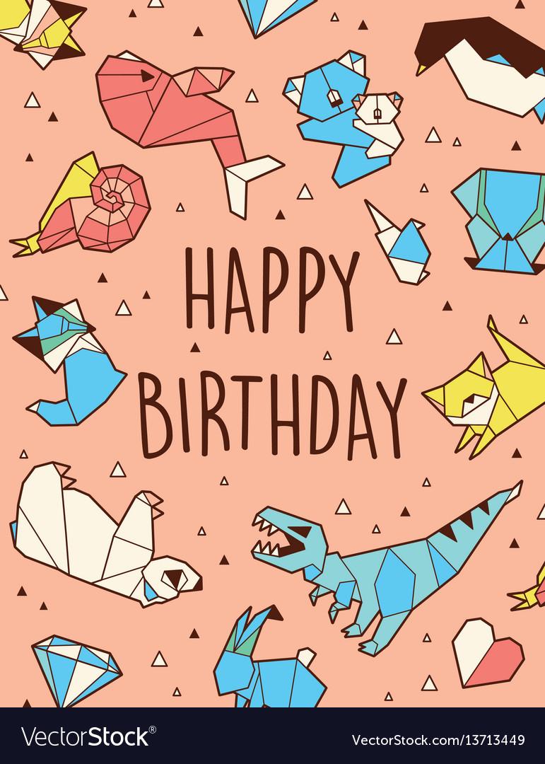 Happy birthday origami card