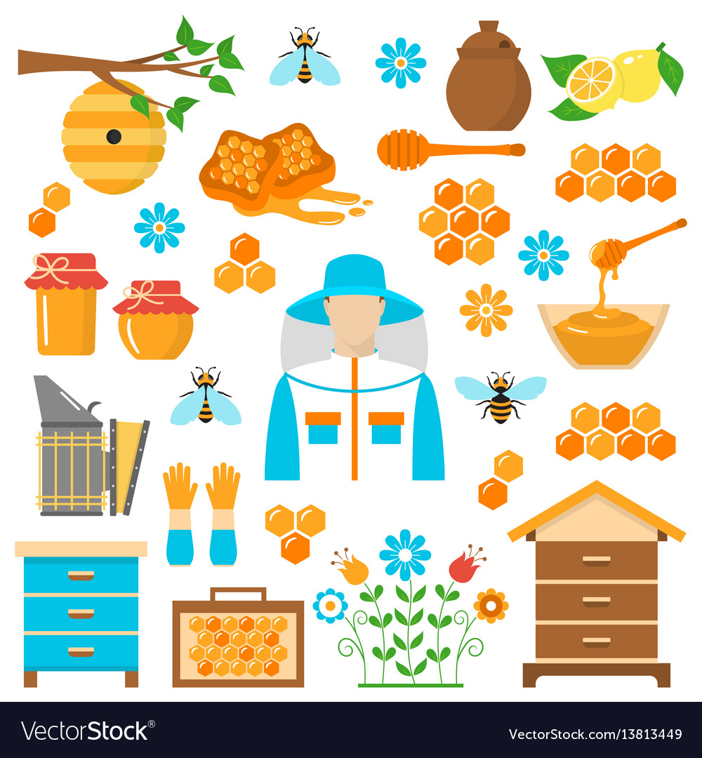 Honey beekeeping flat icons set