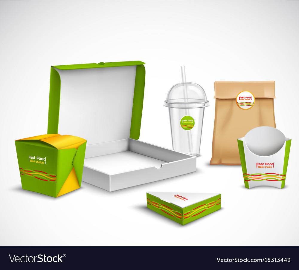 Packaging fast food realistic set