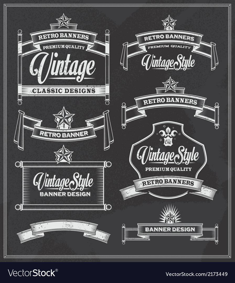 Retro vintage banners and frames chalkboard design vector image