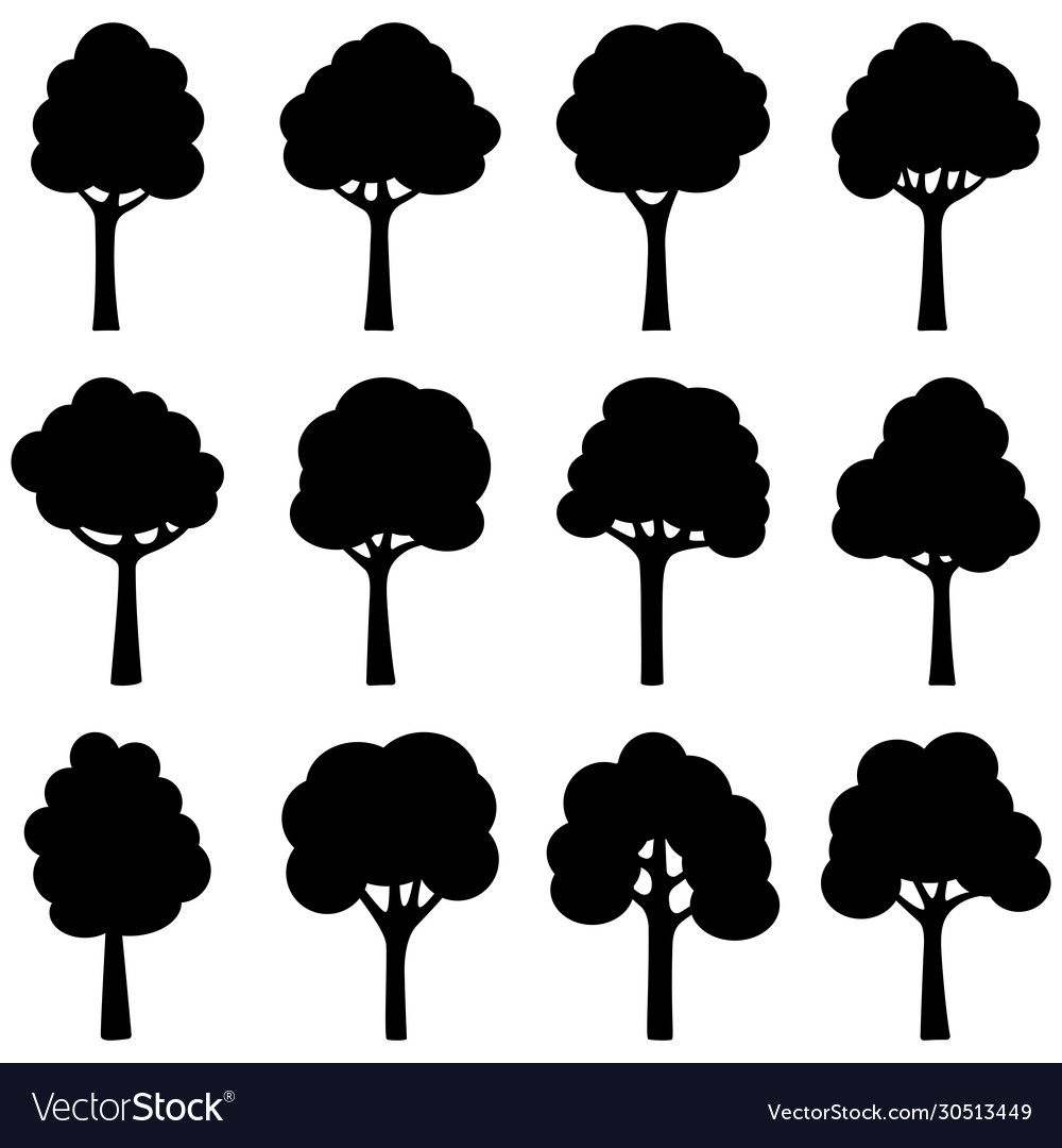 Set black silhouettes trees