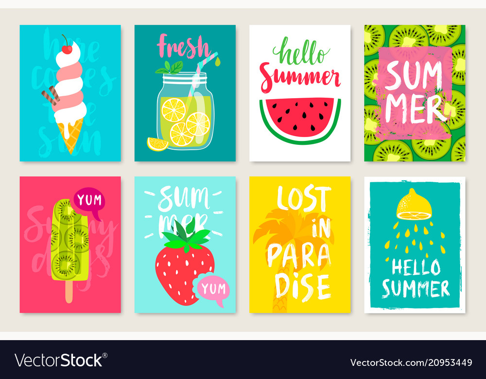 Summer hand drawn calligraphyc card set with