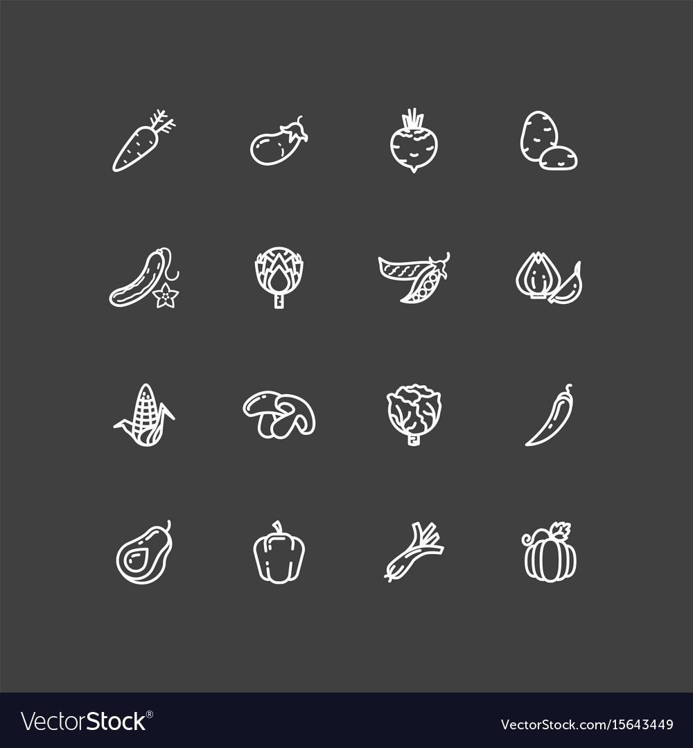 White vegetables outline icons set