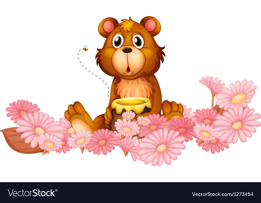 A garden of pink flowers with a bear