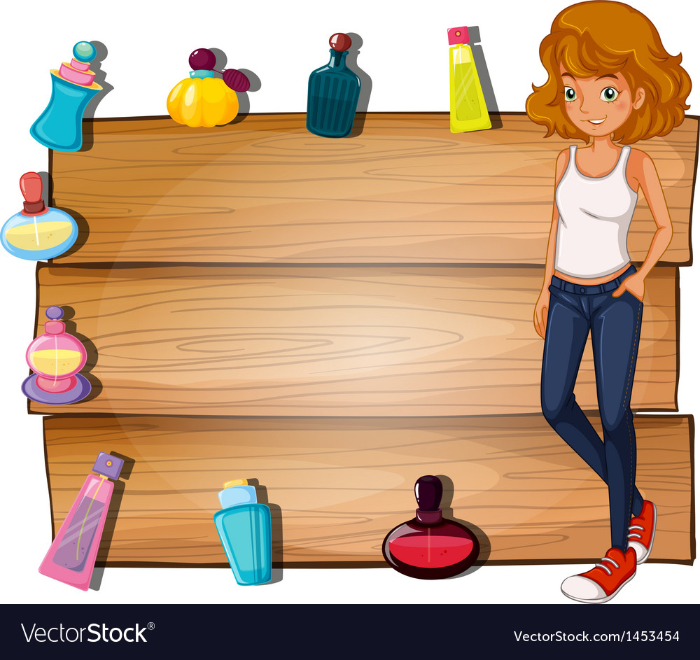 A girl and the different perfumes surrounding the