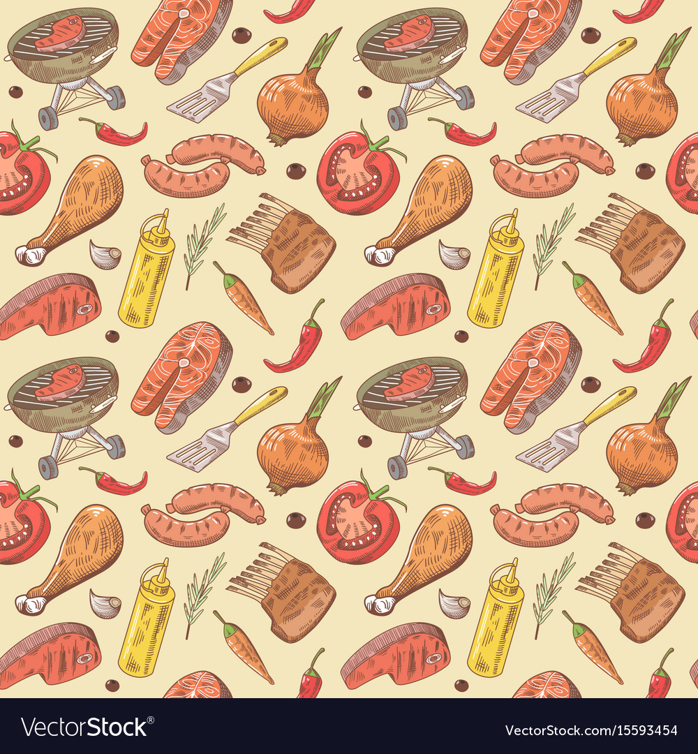 Barbecue and grill hand drawn seamless background