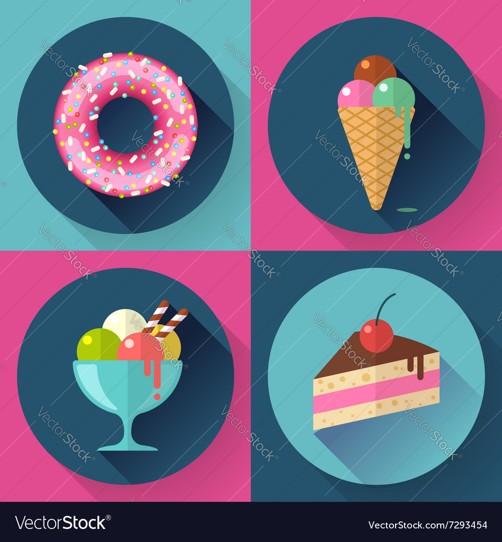 Cakes and sweets decorative icons set with donut