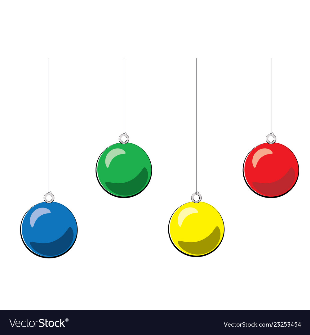 Christmas ball blue yellow green red