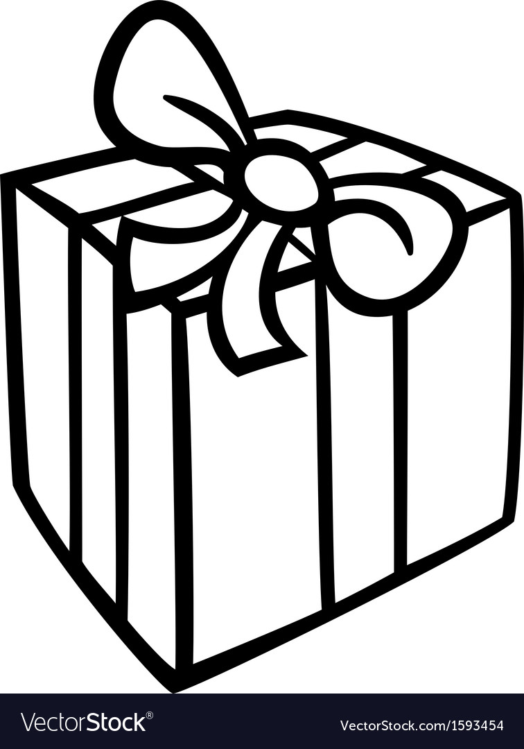 Christmas gift coloring page Royalty Free Vector Image
