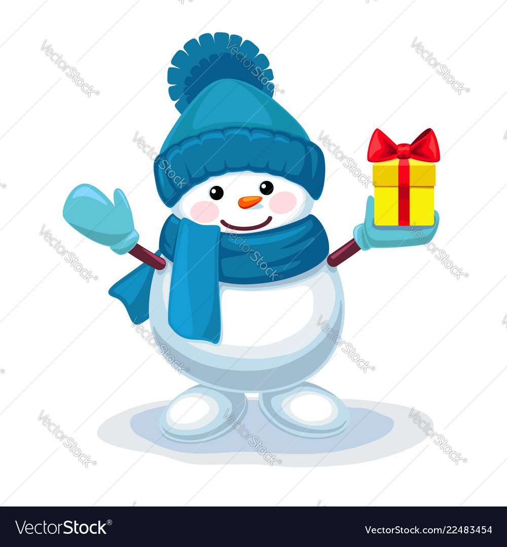 Cute snowman with a gift on his hand isolated