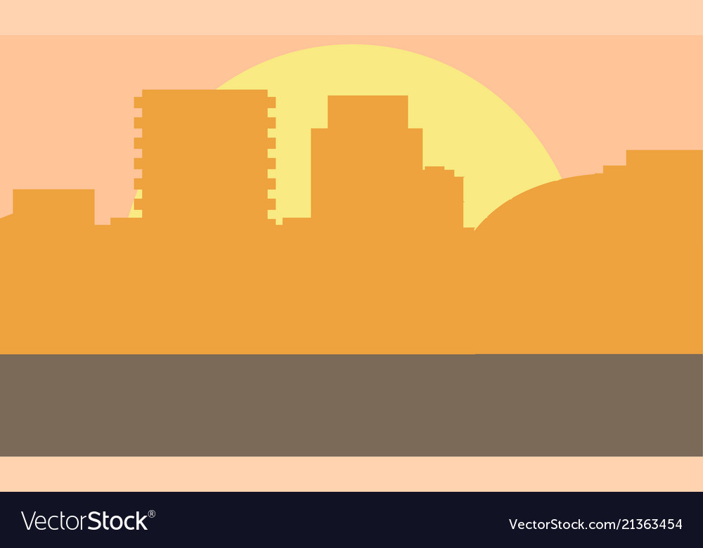 Evening cityscape sunset