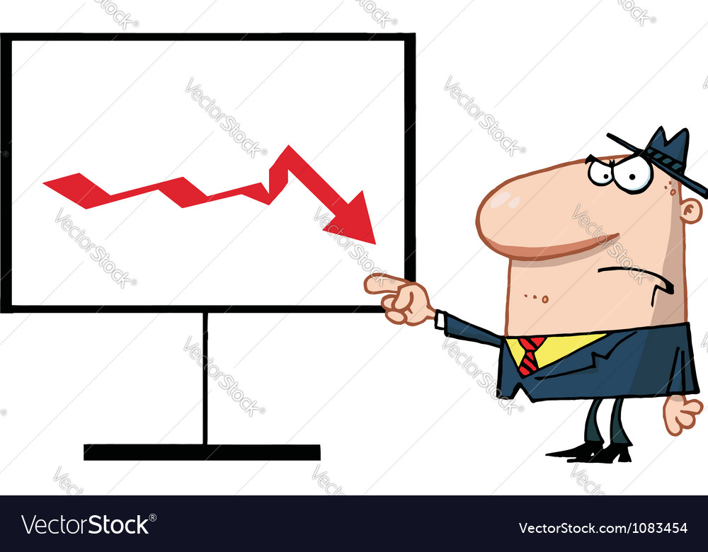Grumpy Boss Pointing To A Decline Board vector image