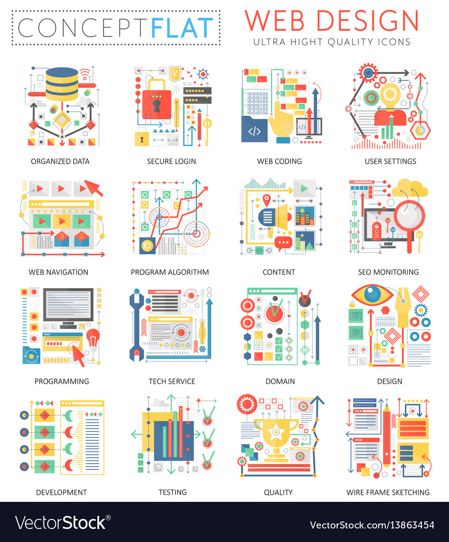 Infographics mini concept web design icons and