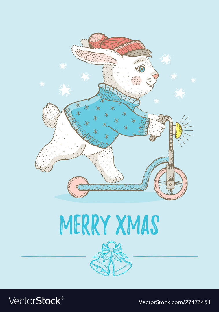 Merry christmas card cute animal poster for xmas