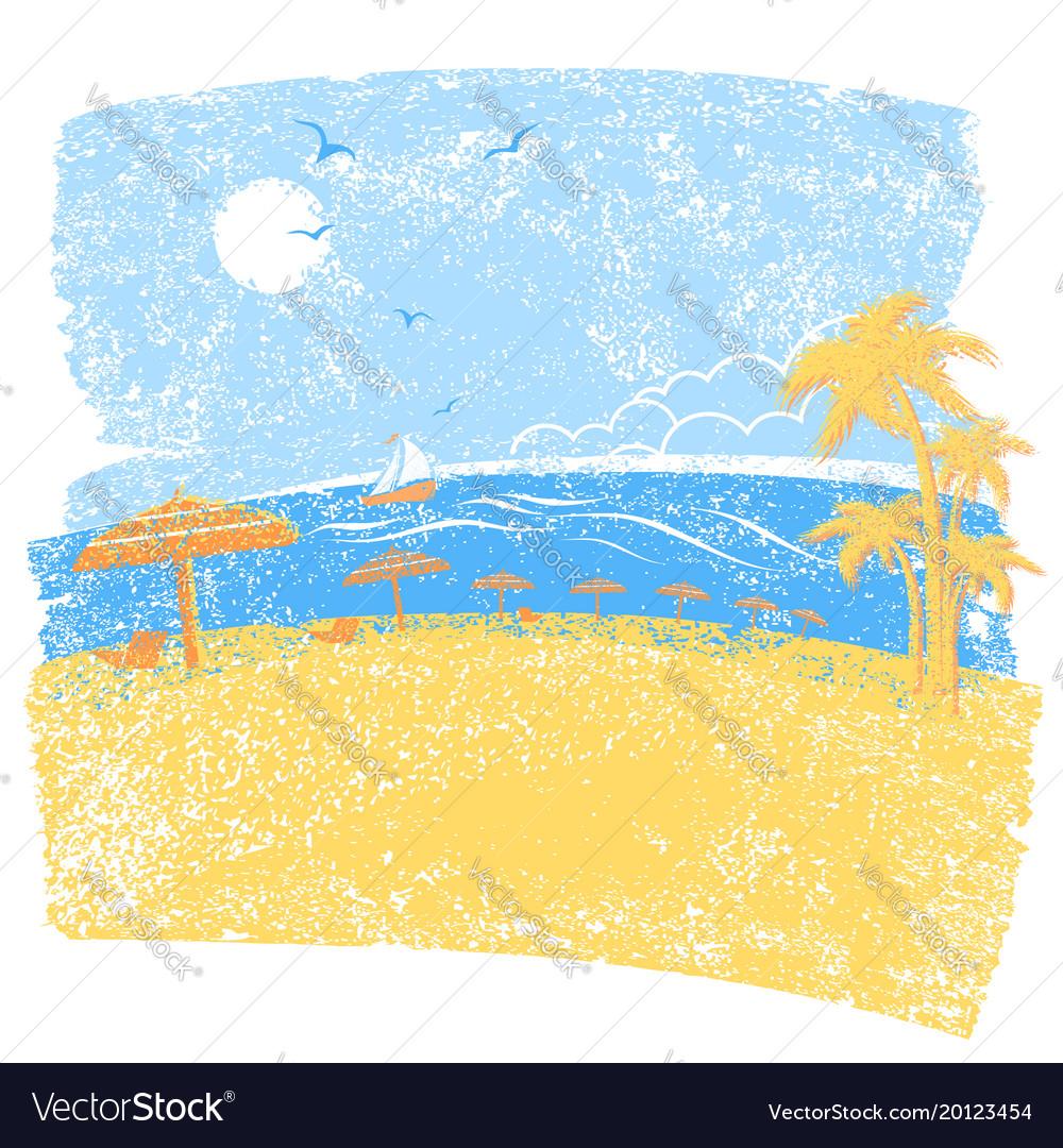 Nature tropical beach with beach umbrellas