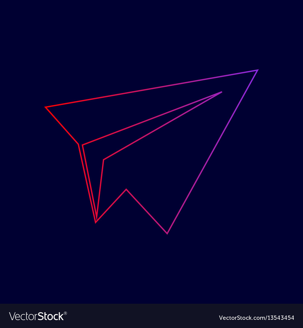 Paper airplane sign line icon with
