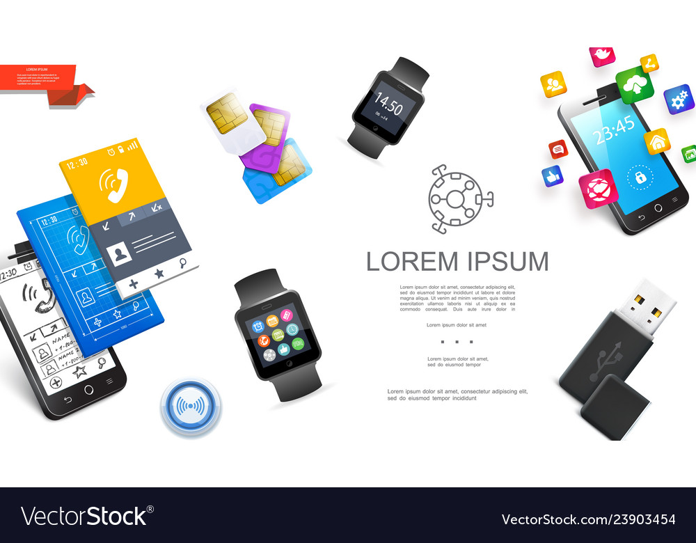 Realistic modern gadgets concept