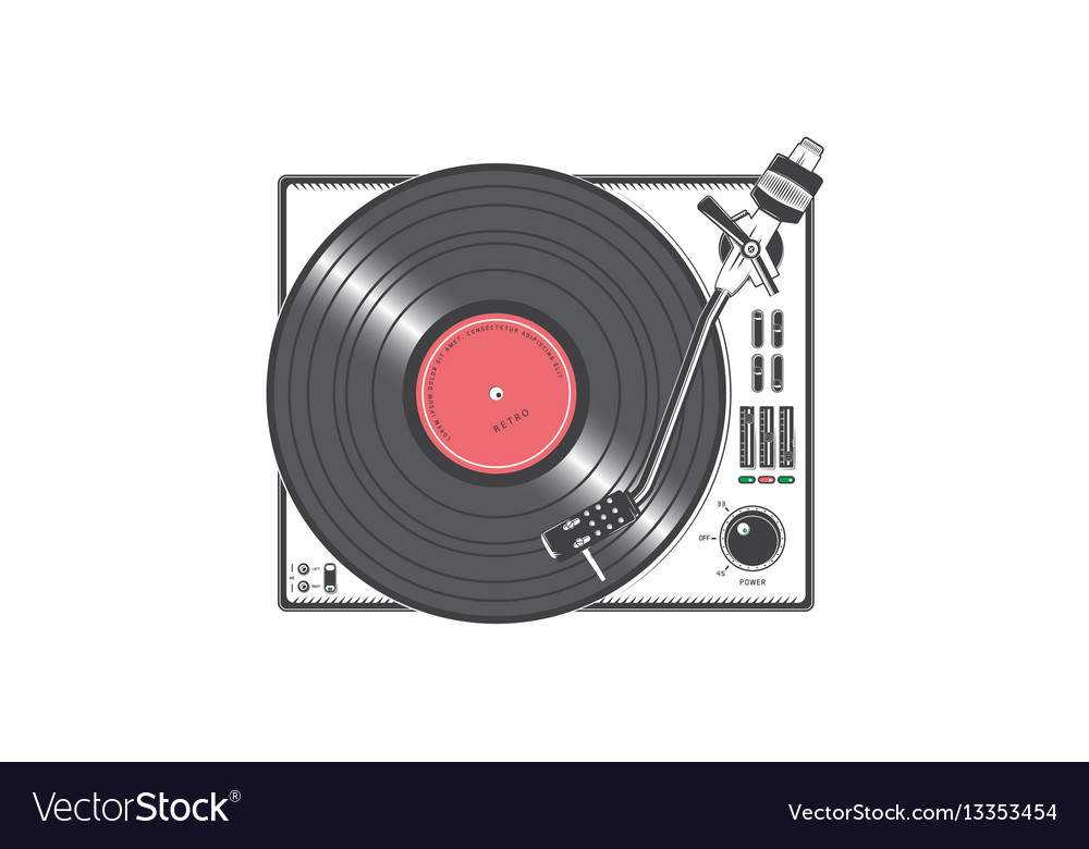 Vinyl player with a vinyl disk detailed elements vector image