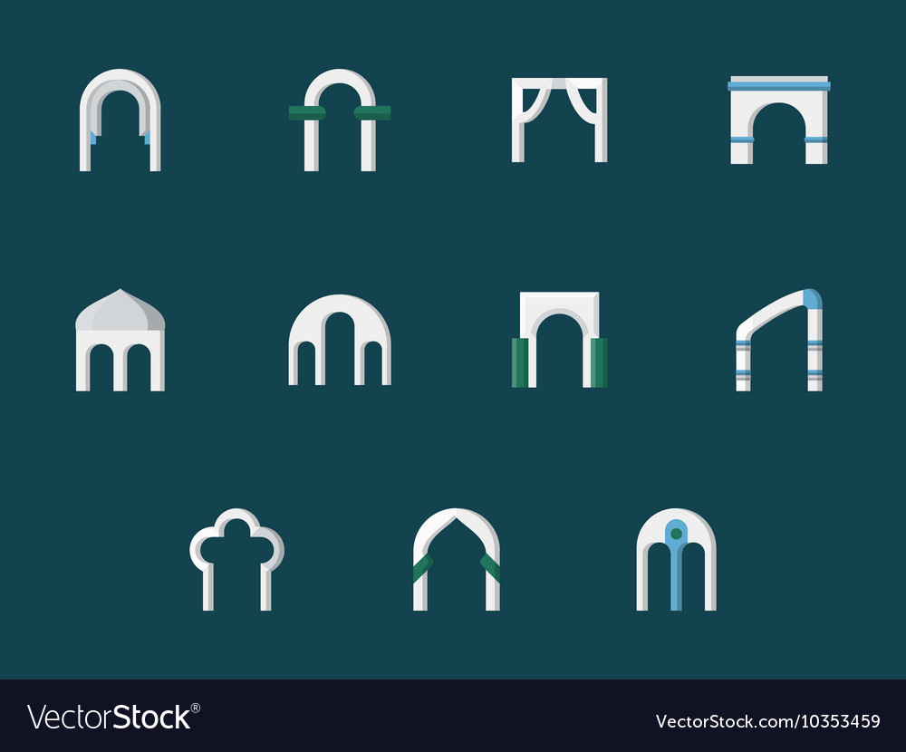 Arch types flat color icons vector image
