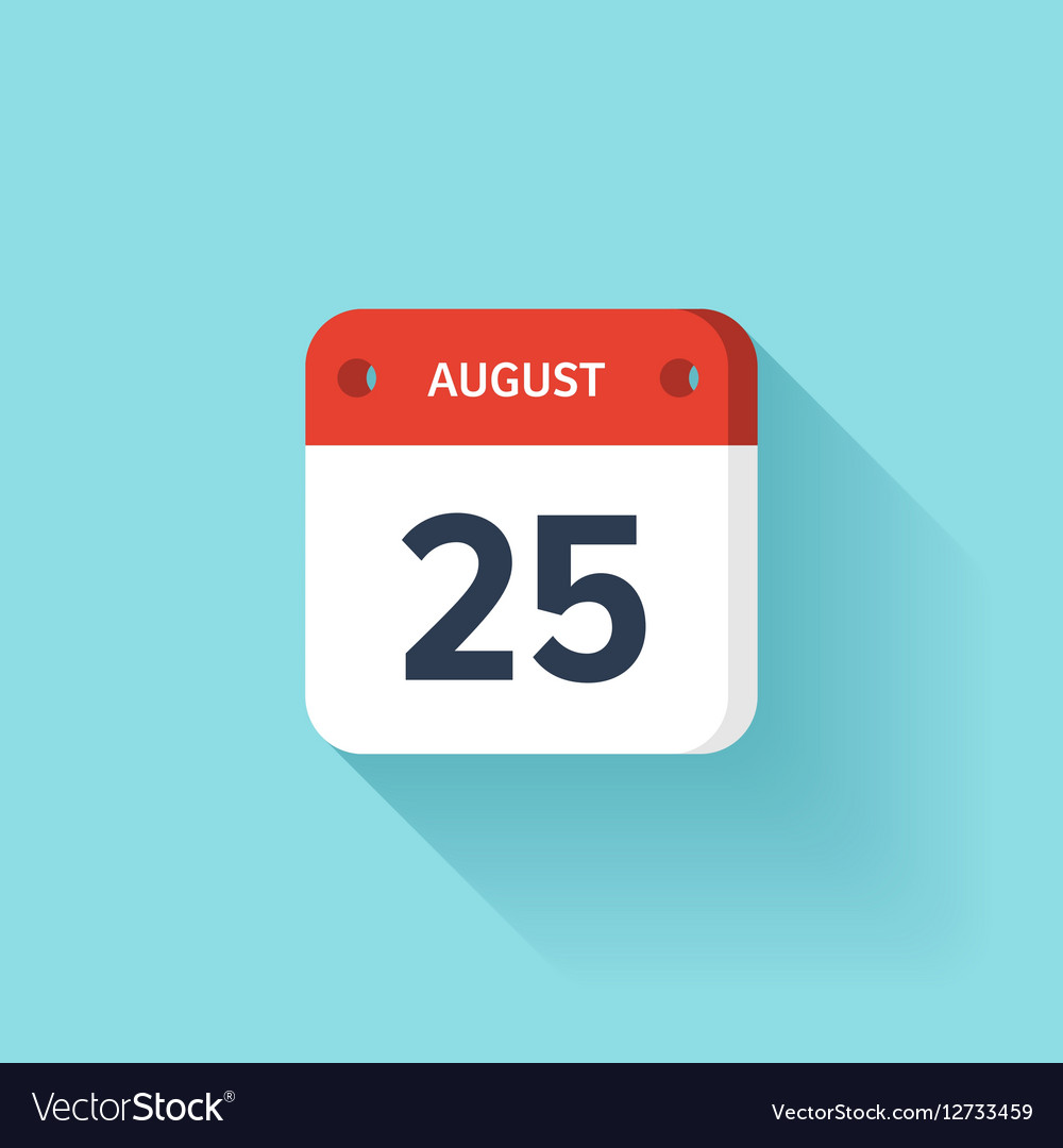 August 25 Isometric Calendar Icon With Shadow