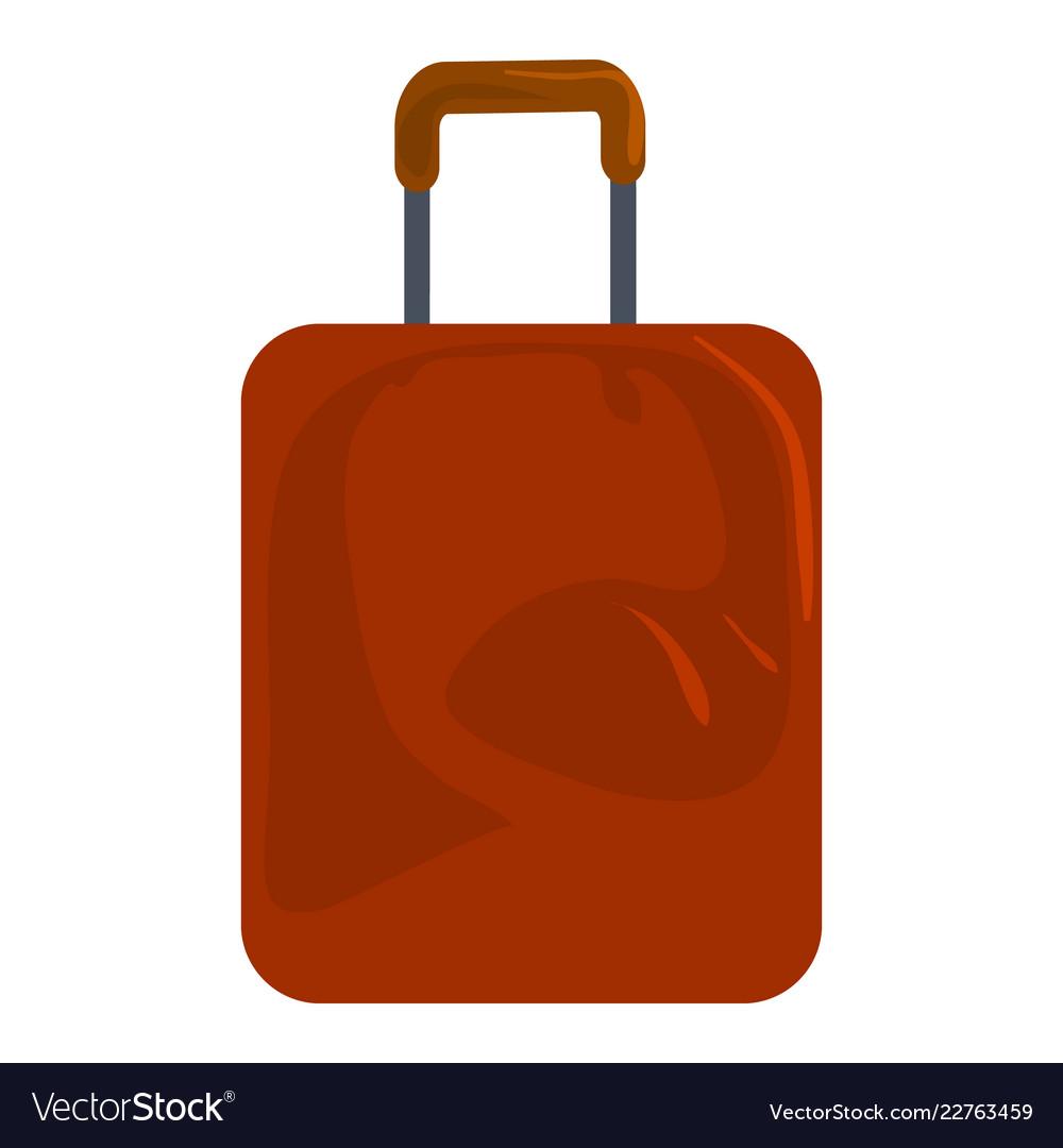Brown travel bag icon cartoon style
