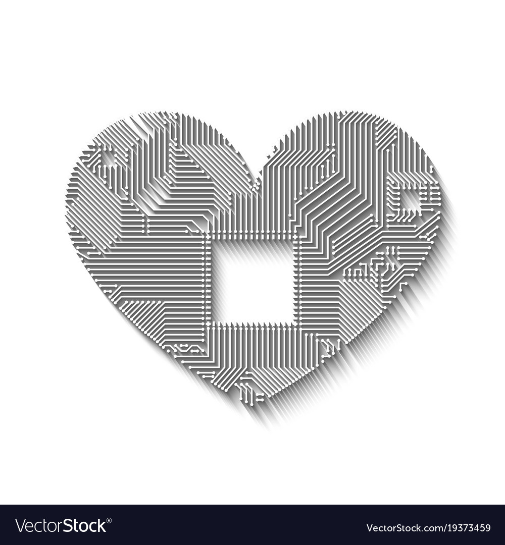 Circuit Board Heart With Long Shadow Royalty Free Vector Printed Red Electrical Symbol Image
