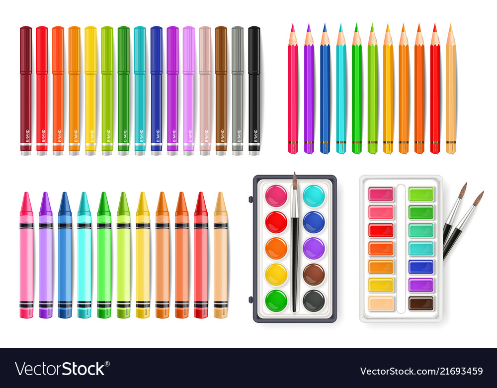 Colorful pen marker and watercolor palette tools