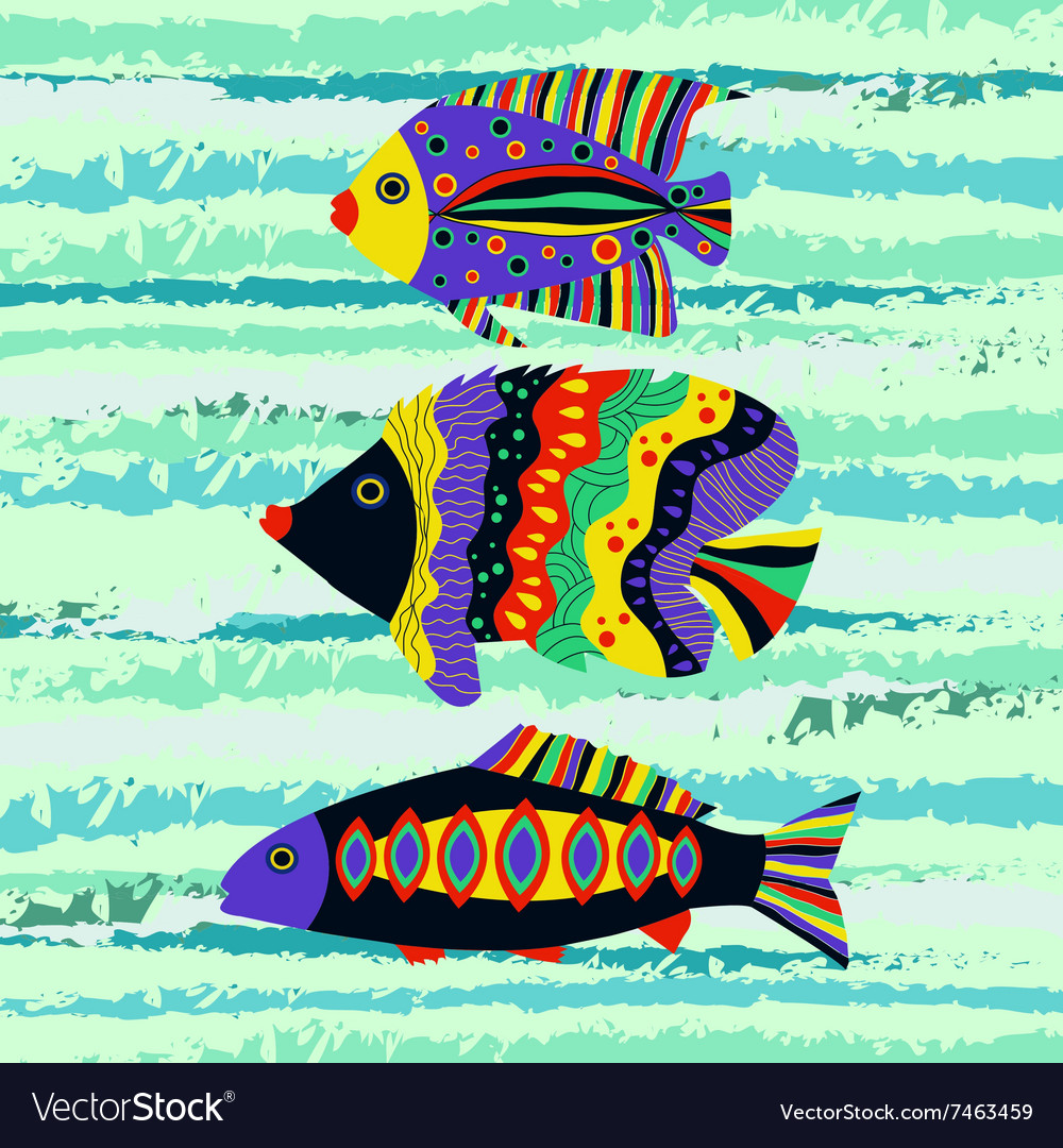 Colorful tropical fish swimming Royalty Free Vector Image