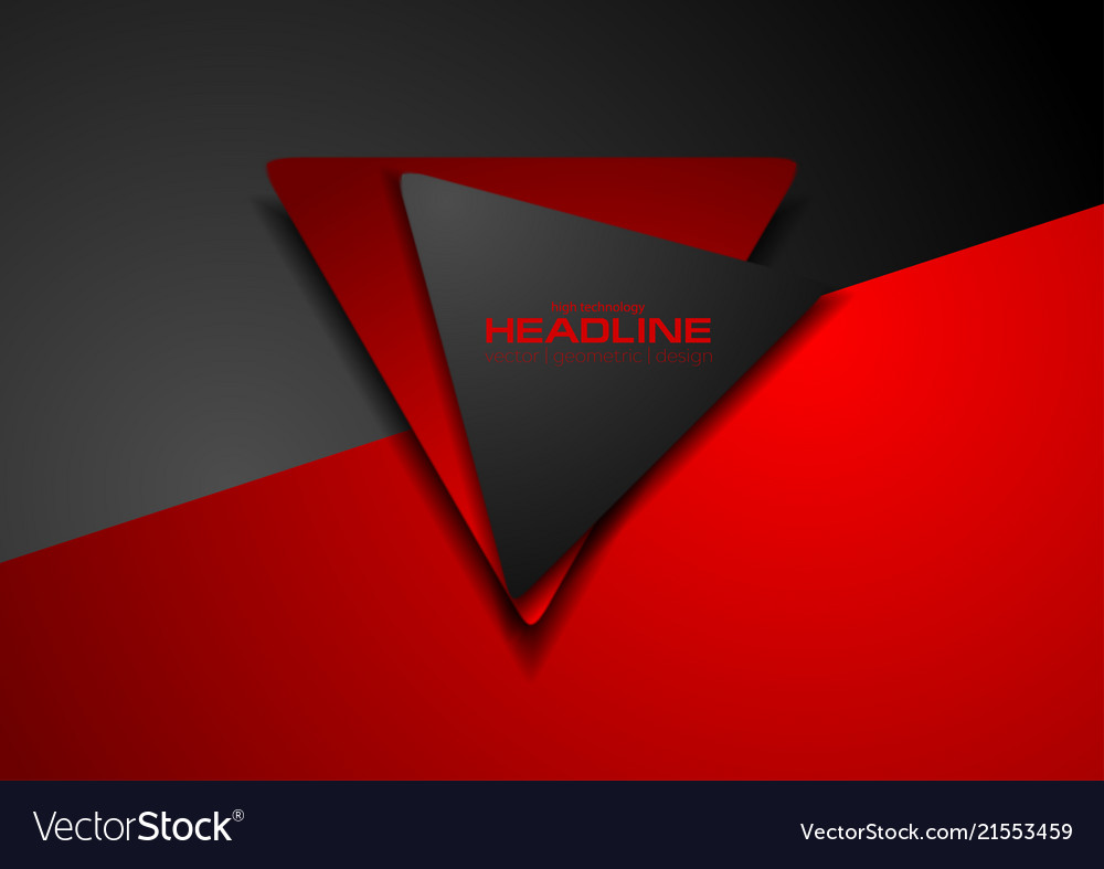 Contrast red and black tech geometric background