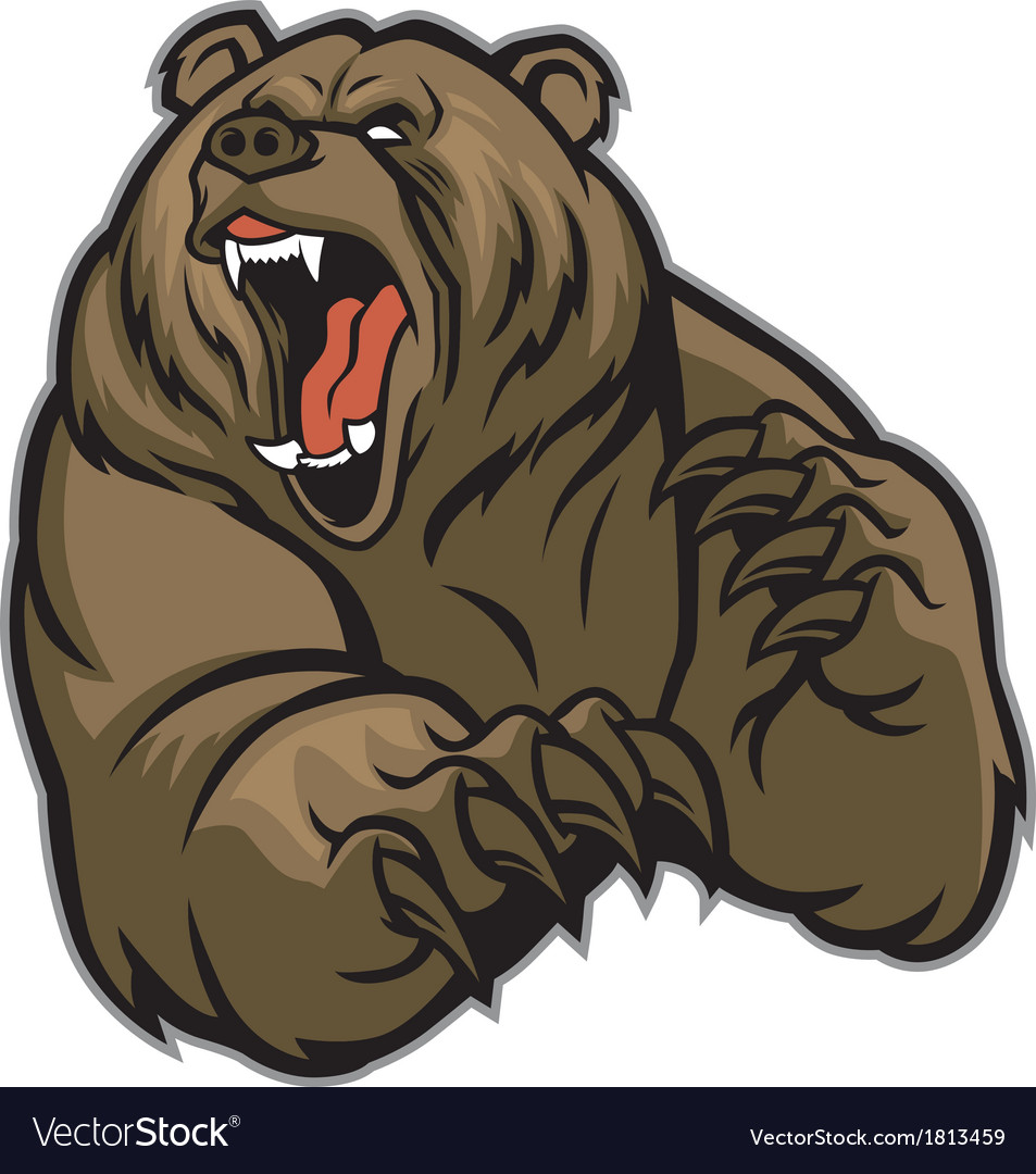 grizzly bear mascot royalty free vector image vectorstock rh vectorstock com Bear Drawings to Copy bear cub mascot clipart