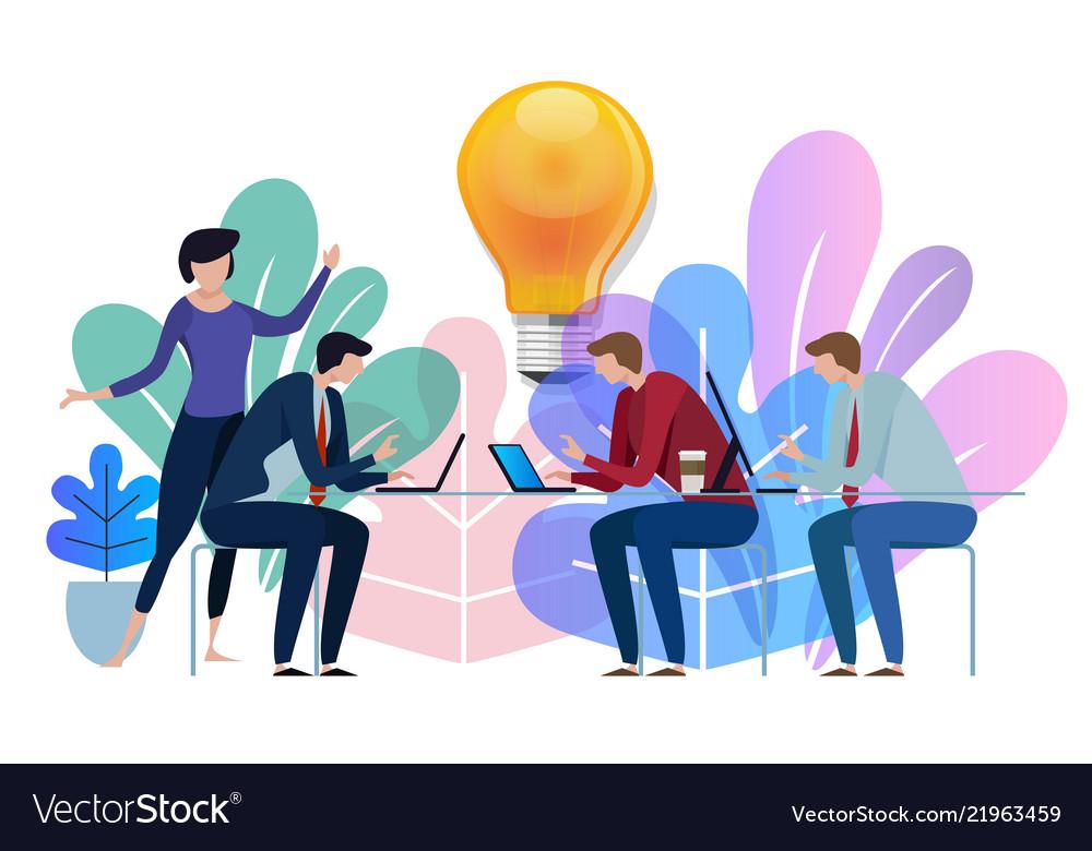 Idea big bulb above business team working talking