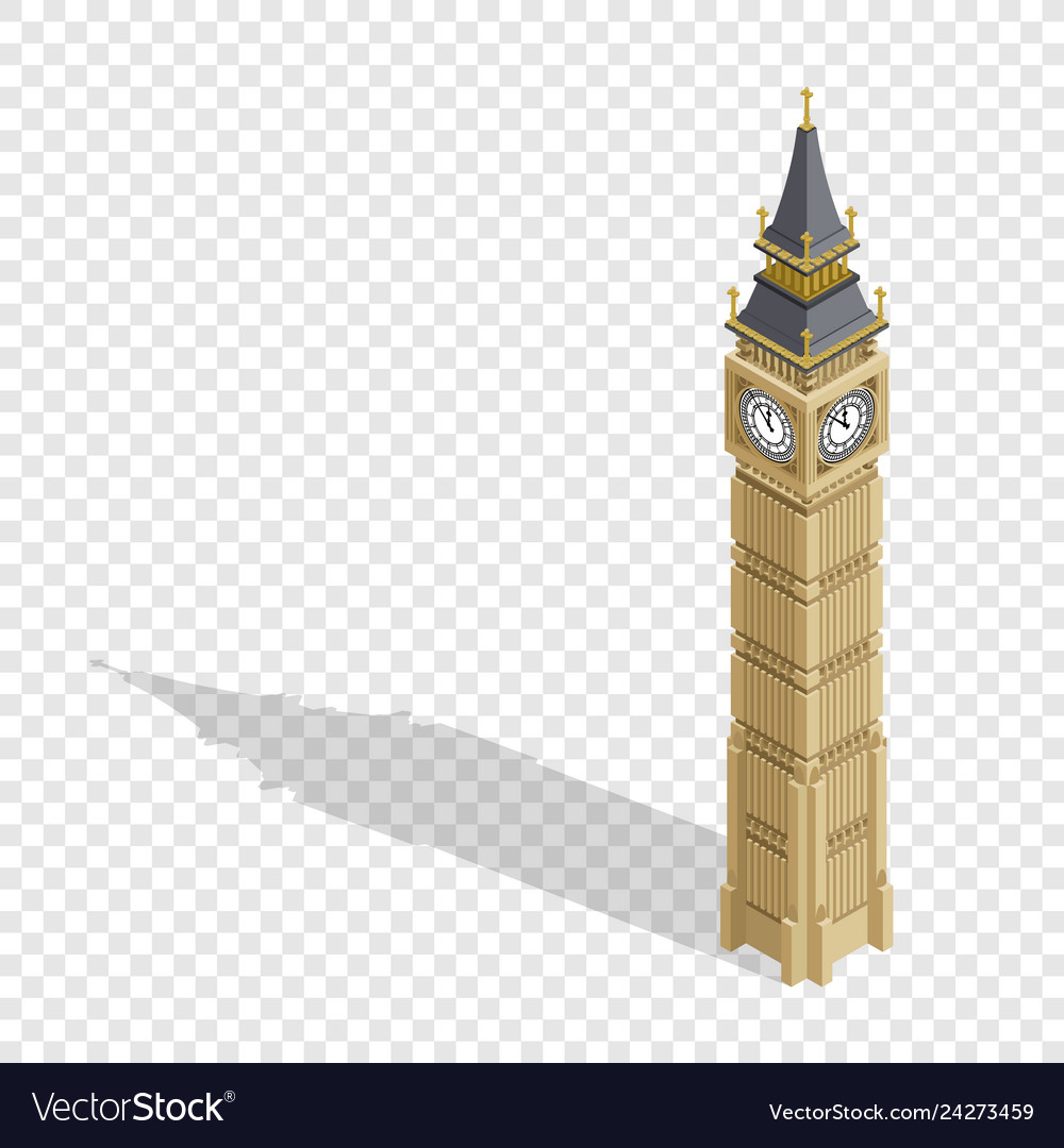 Isometric highly detailed big ben tower on