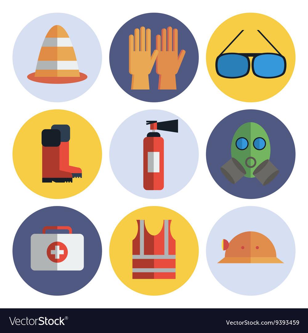 Safety equipment flat icon set