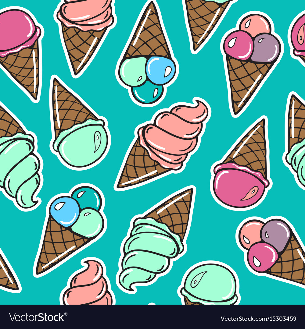 Seamless pattern with icecreams